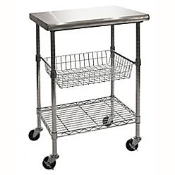 Seville Classics Stainless Steel Kitchen Work Table Cart Bed Bath - Stainless steel kitchen work table cart