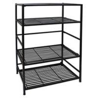 Flipshelf 4-Shelf Entertainment Stand in Black