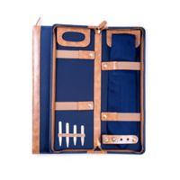Bey-Berk Travel Tie Case with Collar Stays in Blue/Brown