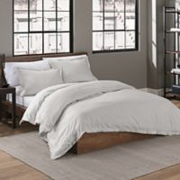 Garment Washed Solid Full/Queen Duvet Cover Set in Silver