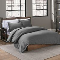 Garment Washed Solid King Duvet Cover Set in Charcoal