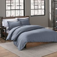 Garment Washed Solid Full/Queen Duvet Cover Set in Denim