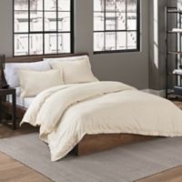 Garment Washed Solid Twin Duvet Cover Set in Cream
