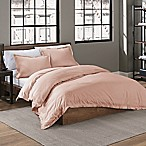 Garment Washed Solid King Duvet Cover Set in Blush