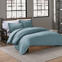 Garment Washed Solid Twin Duvet Cover Set in Teal