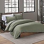 Garment Washed Solid Full/Queen Duvet Cover Set in Olive