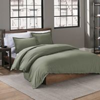 Garment Washed Solid Twin Duvet Cover Set in Olive