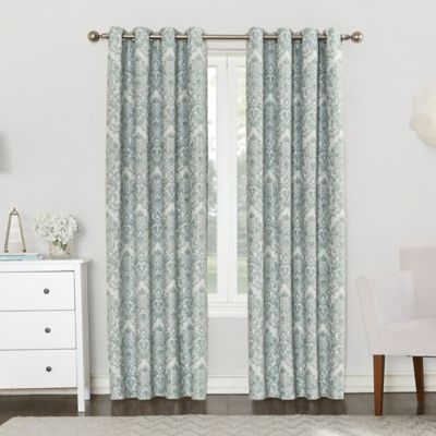 Sun Zero Clora 84 Inch Grommet Top Room Darkening Window Curtain Panel In Aqua