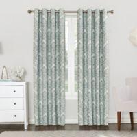 Sun Zero Clora 84 Inch Grommet Top Room Darkening Window Curtain Panel In Aqua