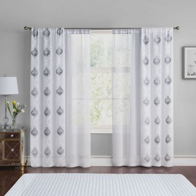 Vcny Home Jade 84 Inch Rod Pocket Window Curtain Panel Pairs In Grey White