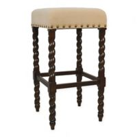 Carolina Cottage Remick 30-Inch Barley Twist Leg Bar Stool in Espresso/Cream