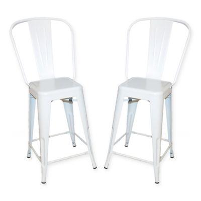 carolina cottage adeline metal counter stool set of 2 in white