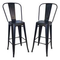 Carolina Cottage Adeline Metal Bar Stool (Set of 2) in Black