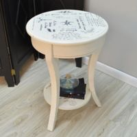 Carolina Cottage Chrissy Parisian Script Accent Table in Vintage Cream