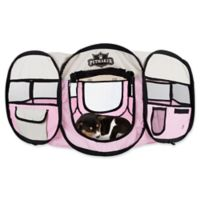 Petmaker 33-Inch Portable Pop Up Pet Play Pen with Carrying Bag in Pink