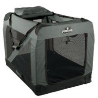 Petmaker 1-Door Portable Jumbo Soft Sided Pet Crate in Grey