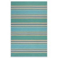 KAS Harbor Stripes 3-Foot x 3-Inch x 5-Foot x 3-Inch Indoor/Outdoor Area Rug in Ocean
