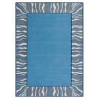 KAS Retreat Waves 2-Foot 2-Inch x 7-Foot 6-Inch Runner in Denim Blue