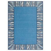 KAS Retreat Waves 6-Foot 7-Inch x 9-Foot 6-Inch Area Rug in Denim Blue