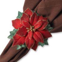 Red Poinsettia Napkin Rings (Set of 4)