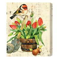 Garden Bird & Red Tulips 16-Inch x 20-Inch Canvas Wall Art