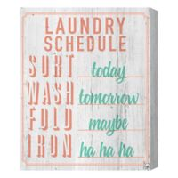 Laundry Schedule 16-Inch x 20-Inch Canvas Wall Art