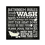 Stephanie Marrot's Bathroom Rules 14-Inch Square Canvas Wall Art