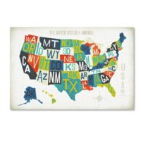 Michael Mullan's Letterpress USA Map 22-Inch x 32-Inch Canvas Wall Art