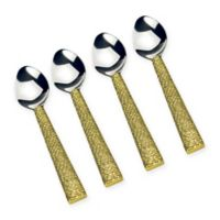 Classic Touch Tervy Spaghetti Dessert Spoons with Gold Handles (Set of 4)