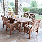 Forest Gate Eagleton Patio 7-Piece Light Acacia Wood Dining Set with Beige Cushions
