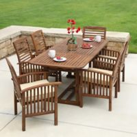 Forest Gate Eagleton Patio 7-Piece Dark Acacia Wood Dining Set with Beige Cushions