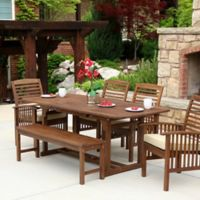 Forest Gate Eagleton Pation 6-Piece Dark Acacia Wood Dining Set with Beige Cushions