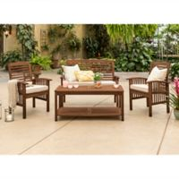 Forest Gate Eagleton Patio 4-Piece Dark Acacia Wood Conversation Set with Beige Cushions
