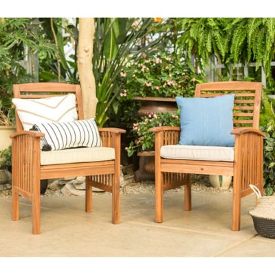 Walker Edison Light Acacia Wood Patio Chairs With Cushions (Set Of 2)