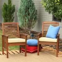 Forest Gate Eagleton Dark Acacia Wood Patio Chairs with Seat Cushion (Set of 2)