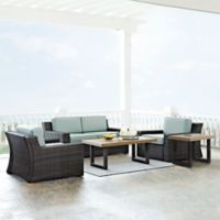 Crosley Beaufort 5-Piece Outdoor Wicker Conversation Set with Mist Cushions