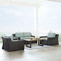 Crosley Beaufort 4-Piece Outdoor Wicker Conversation Set with Mist Cushions