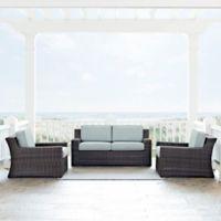 Crosley Beaufort 3-Piece Outdoor Wicker Conversation Set with Mist Cushions