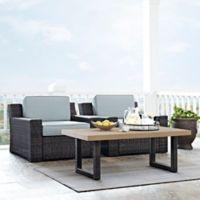 Crosley Beaufort 3-Piece Outdoor Wicker Patio Set with Mist Cushions