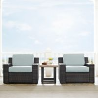 Crosley Beaufort 3-Piece Outdoor Wicker Chat Set with Mist Cushions