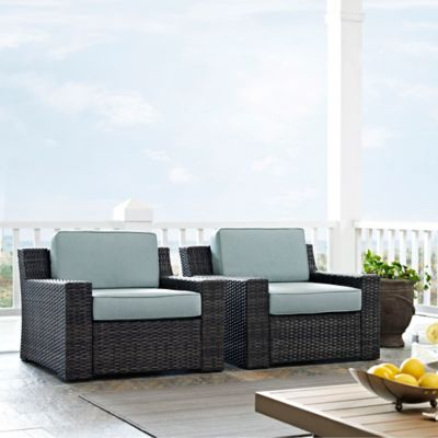 Charming Crosley Beaufort Outdoor Wicker Patio Chair With Mist Cushions (Set Of 2)