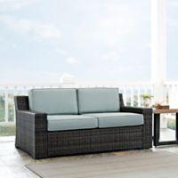 Crosley Beaufort Outdoor Wicker Loveseat with Mist Cushions