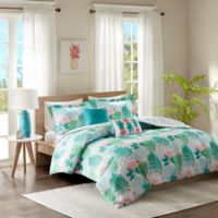 Intelligent Design Tropicana 5-Piece Full/Queen Reversible Comforter Set in Aqua