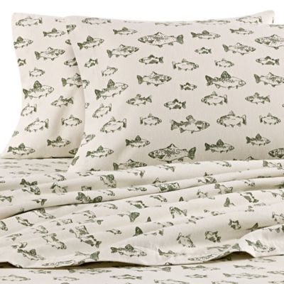 Eddie Bauer® School Of Fish Twin Flannel Sheet Set In Green/Ivory