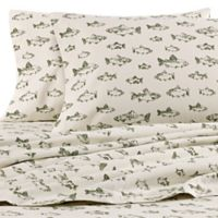 Eddie Bauer® School of Fish Full Flannel Sheet Set in Green/Ivory
