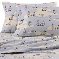 Eddie Bauer® Skating Penguins Flannel Twin XL Sheet Set in Blue