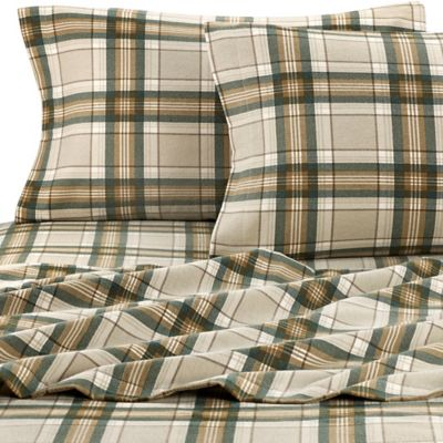 eddie bauer edgewood plaid flannel twin sheet set in green