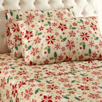 Micro Flannel® Poinsettia Print Twin Sheet Set in Yellow/Red