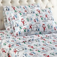 Micro Flannel® Polar Bear Print Full Sheet Set in White
