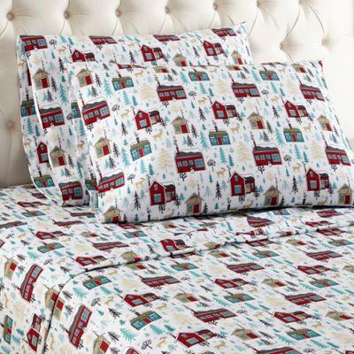 micro flannel cabin print queen sheet set